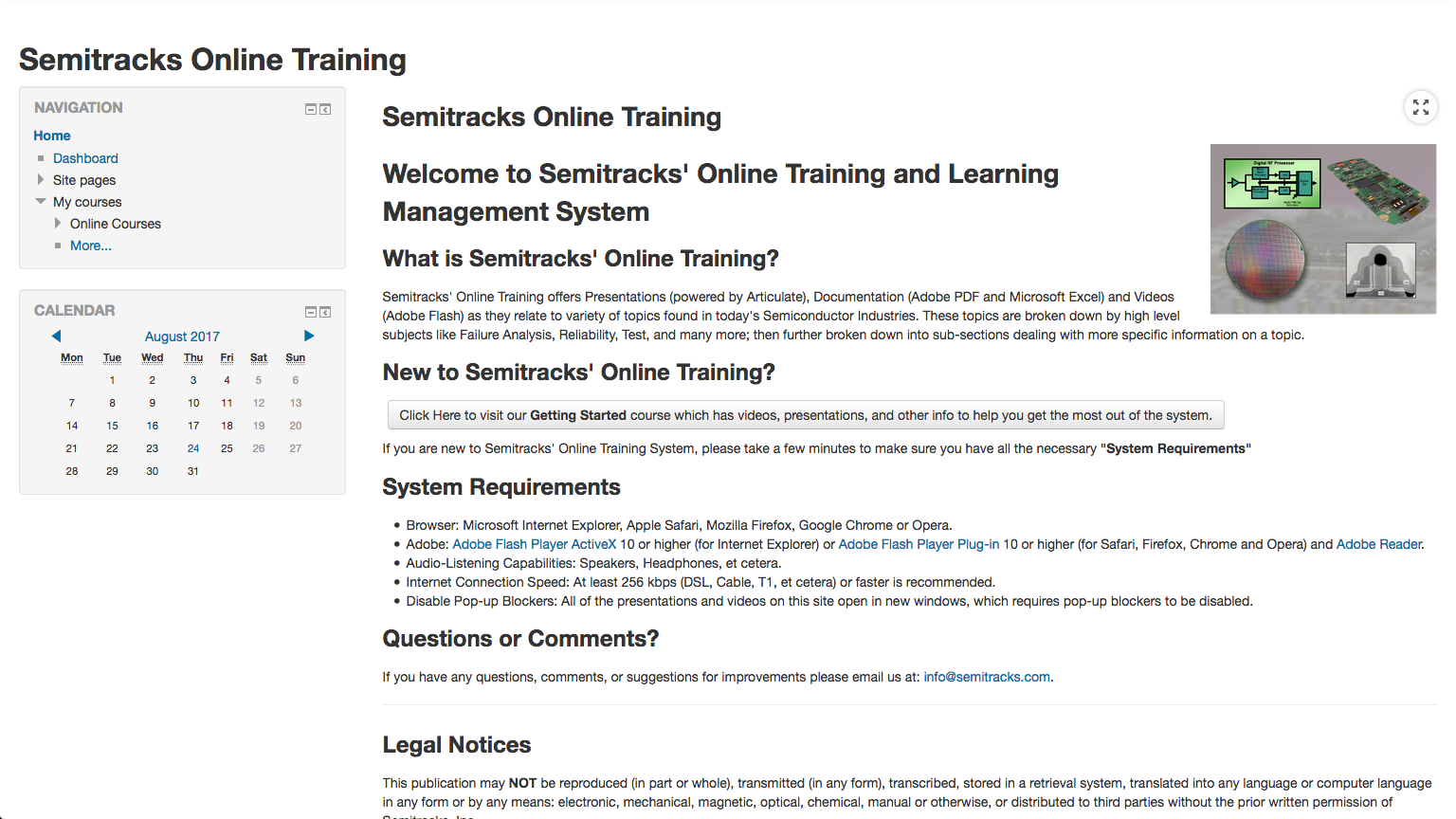 Online Training Overview Screenshot